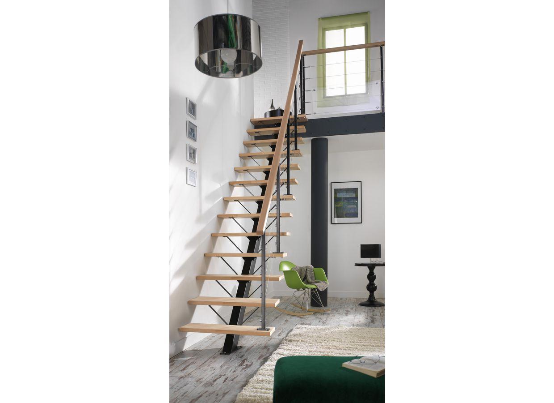 Escalier droit m tal personnalisable escaliers - Escaliers droits bois ...