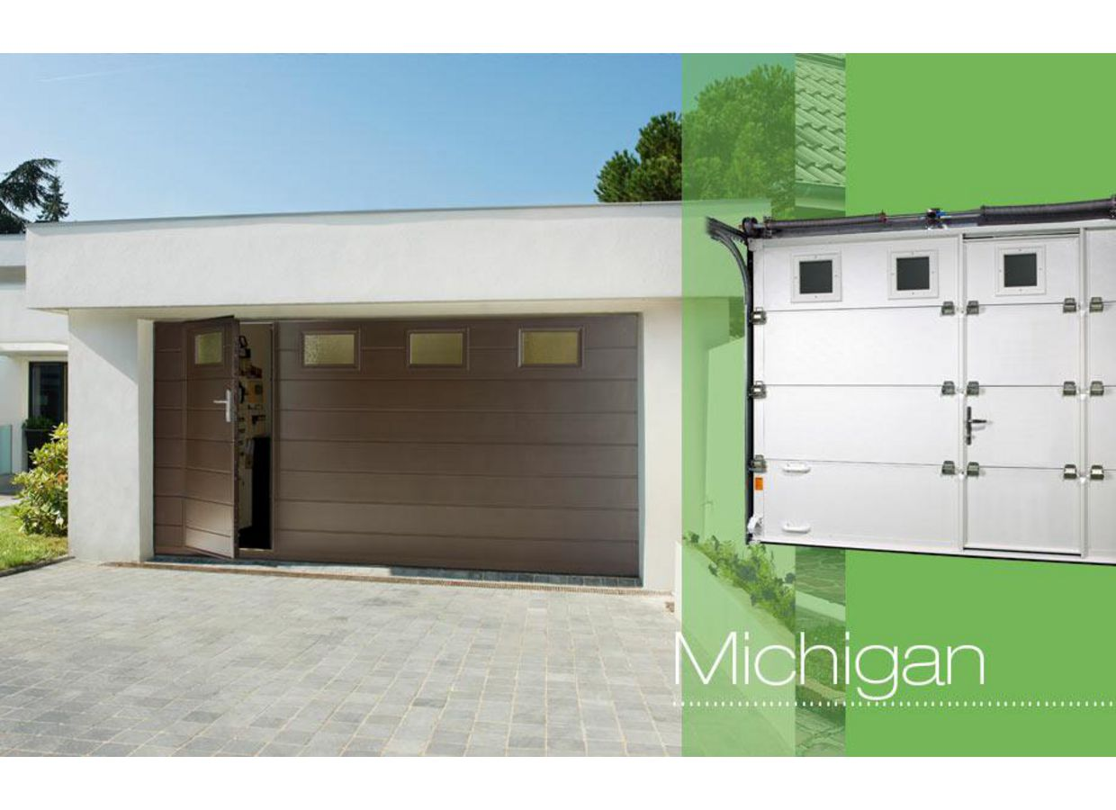 Porte de garage michigan sectionnelle ext rieur - Prix porte de garage sectionnelle motorisee avec portillon ...