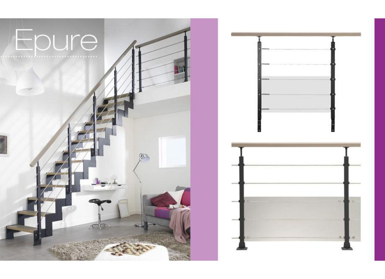 balustrade en aluminium epure escaliers. Black Bedroom Furniture Sets. Home Design Ideas