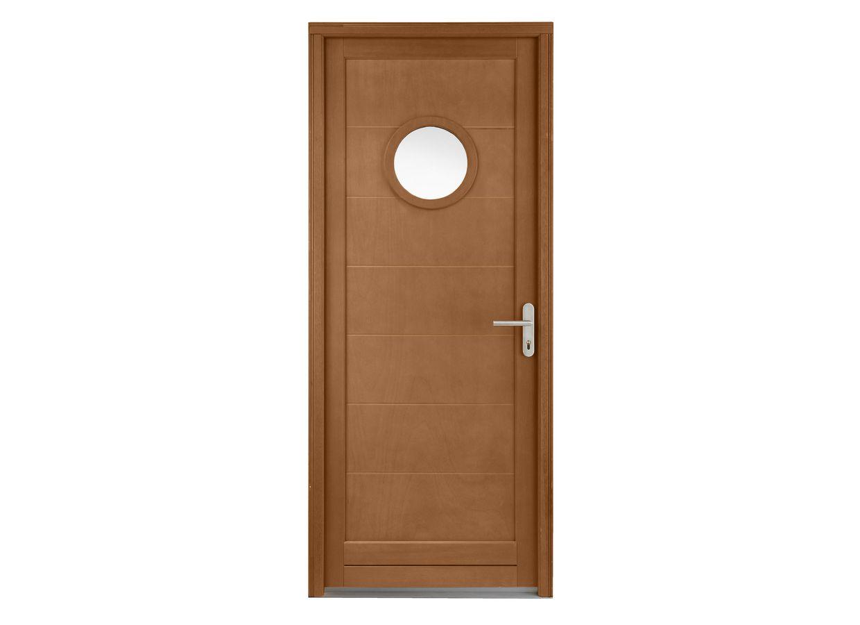 Porte de service valencay hublot bois exotique 2 toiles - Porte a hublot ...