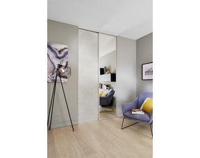 Porte De Placard Coulissante Glisseo Decor Miroir Argent Profil Laque Blanc
