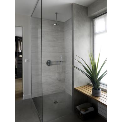 Lambris pvc attitude bois rabot gris salle de bains - Lambris pvc grosfillex salle de bain ...