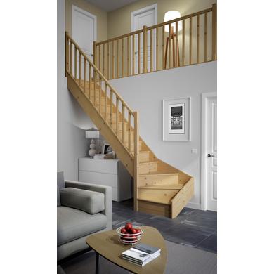 Escaliers qt bas bois standard escaliers - Escalier milieu de piece ...