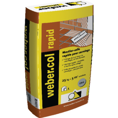 Colle en poudre rapide rapid c2f pour sol sols for Colle a carrelage weber prix