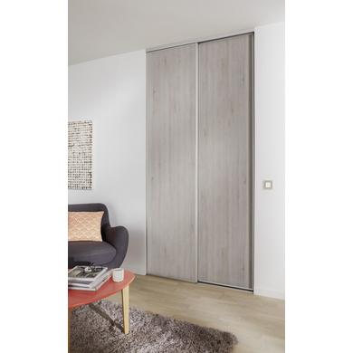De Placard Coulissante GLISSEO Décor Bois Foncé Rangements - Porte placard coulissante avec porte en bois d intérieur