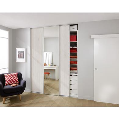 De Placard Coulissante GLISSEO Décor Bois Clair Rangements - Porte placard coulissante de plus porte en bois prix