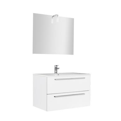 Ensemble meuble de salle de bains plan verre avec robinetterie L