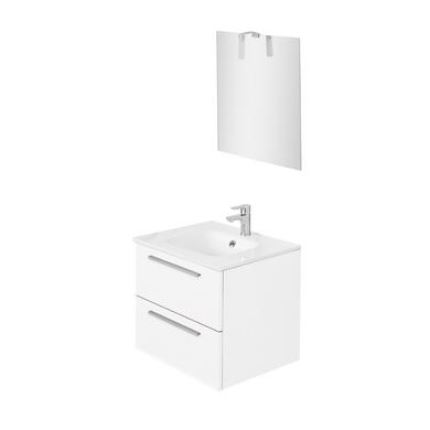 Pack Fokus L60 Cm Sous Vasque Plan Verre Miroir Spot