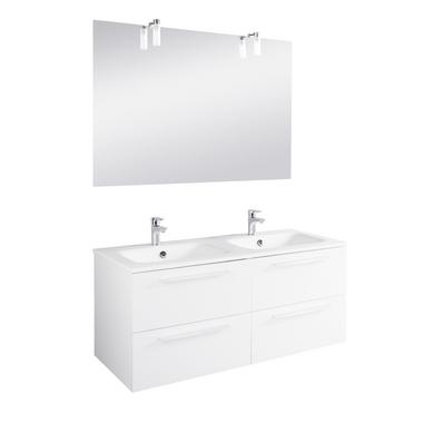 Ensemble meuble de salle de bains plan verre avec robinetterie L.120 ...
