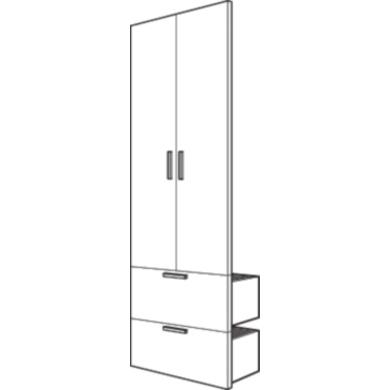 kit de 2 portes avec 2 tiroirs pour dressing espace. Black Bedroom Furniture Sets. Home Design Ideas