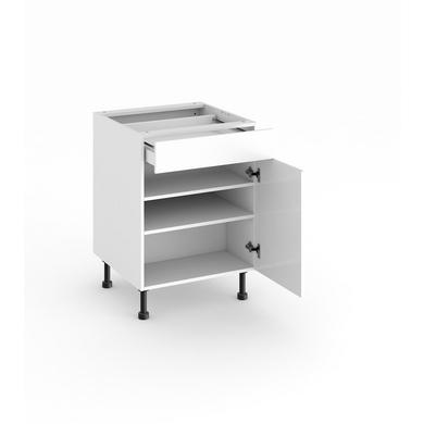 meuble de cuisine bas 1 porte tablettes et tiroir cuisine. Black Bedroom Furniture Sets. Home Design Ideas
