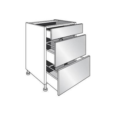 Meuble de cuisine bas range casseroles avec 3 tiroirs l for Meuble haut avec tiroir