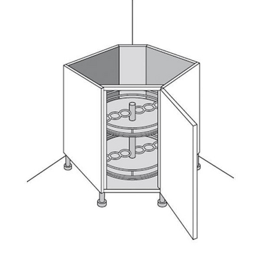 Meuble de cuisine bas rangement en coin urban cuisine for Meuble coin cuisine