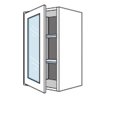 Meuble de cuisine haut avec 1 porte vitrée LUMIO H. 98 cm - Cuisine