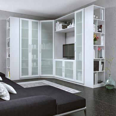 caisson d 39 angle droit avec colonne 4 tablettes x cm pour dressing espace rangements. Black Bedroom Furniture Sets. Home Design Ideas