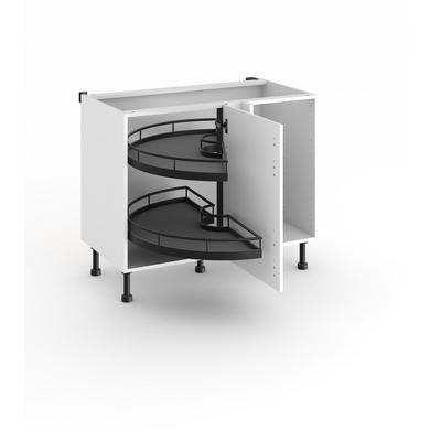meuble de cuisine d'angle bas 2 plateaux demi-lune - cuisine - Meuble Bas D Angle Cuisine