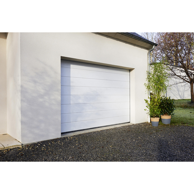 Porte de garage oregon sectionnelle en kit motoris e ext rieur - Porte de garage basculante avec portillon lapeyre ...
