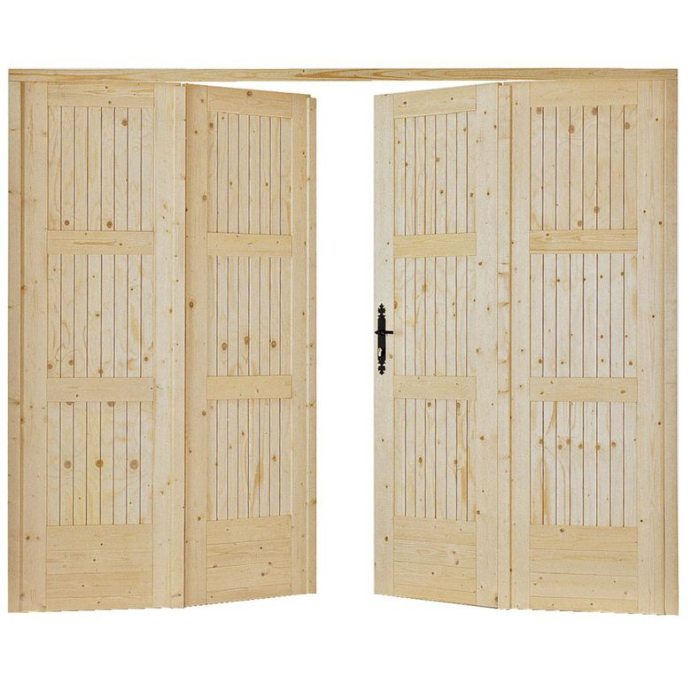 Porte de garage vailly pliante sapin ext rieur for Porte 60 x 60