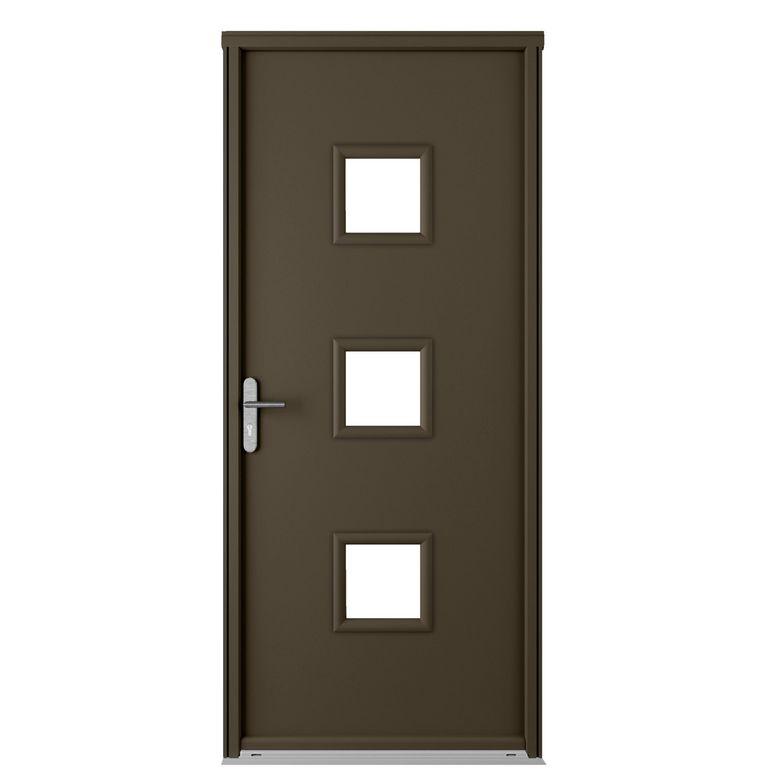 Porte d 39 entr e n lia blanc acier portes - Lapeyre porte entree ...