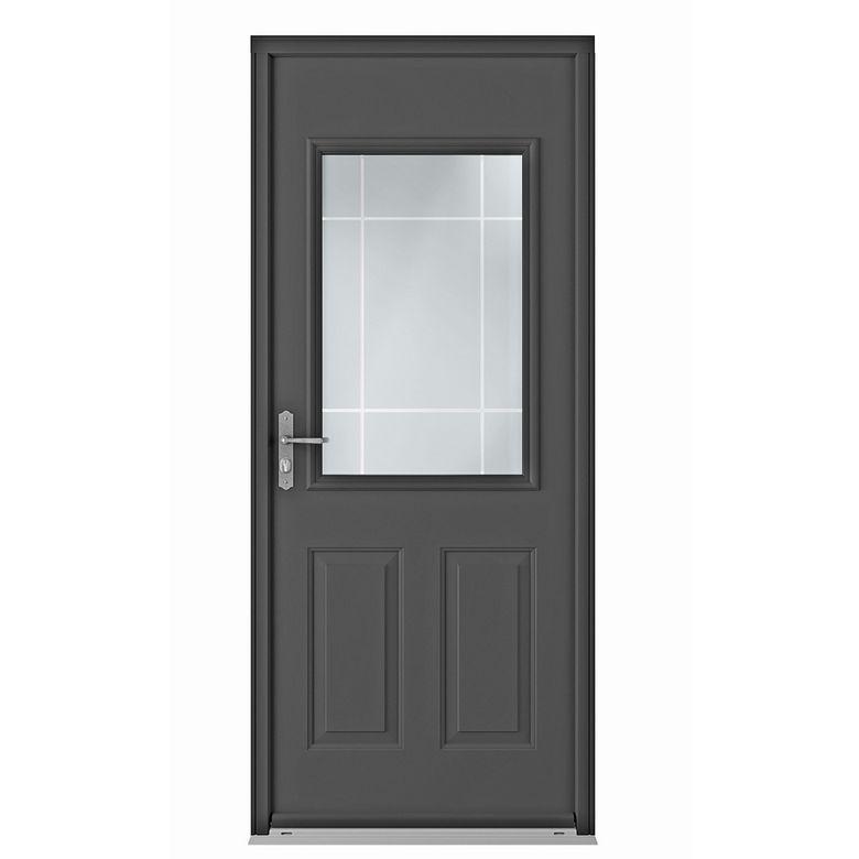 Porte d 39 entr e grenat blanc acier portes for Porte d entree pvc vitree lapeyre