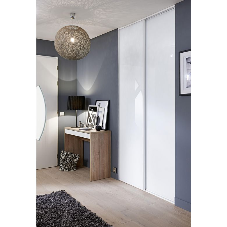 porte de placard coulissante glisseo d cor verre laqu blanc rangements. Black Bedroom Furniture Sets. Home Design Ideas