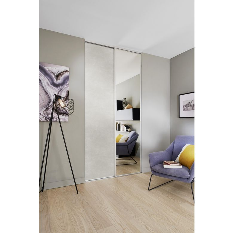 porte de placard coulissante glisseo d cor miroir argent profil laqu blanc rangements. Black Bedroom Furniture Sets. Home Design Ideas