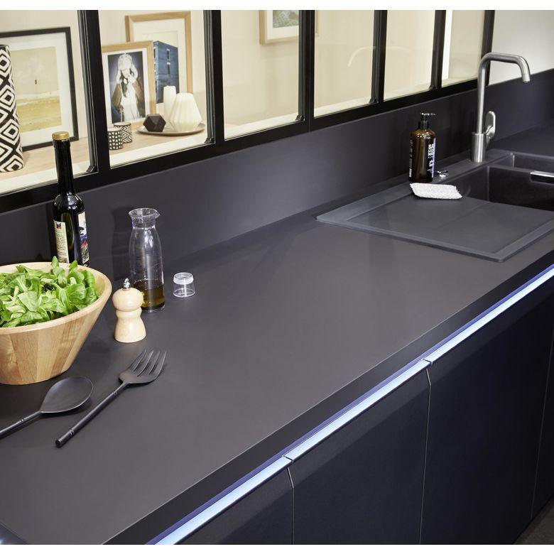 Plan de travail stratifi velvet noir 38 mm cuisine - Plan de travail cuisine lapeyre ...