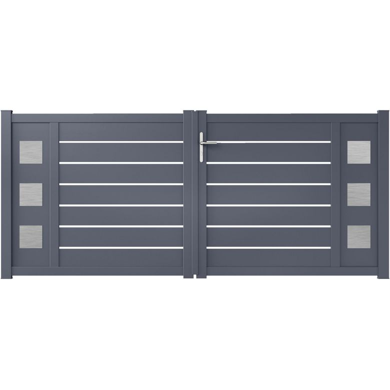 Portail battant aluminium catane d cor carr ext rieur - Lapeyre portail coulissant alu ...