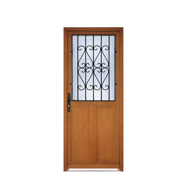 Porte d 39 entr e savigny bois exotique avec grille portes for Porte avec grille de ventilation