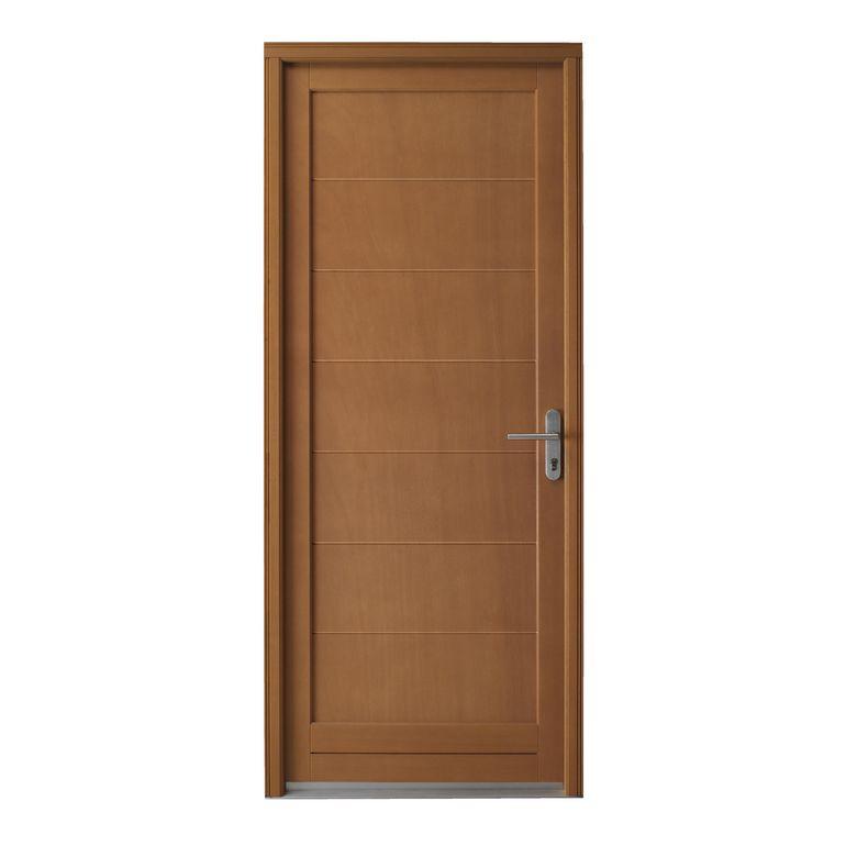 Porte de service valen ay bois exotique portes Porte de service blindee lapeyre