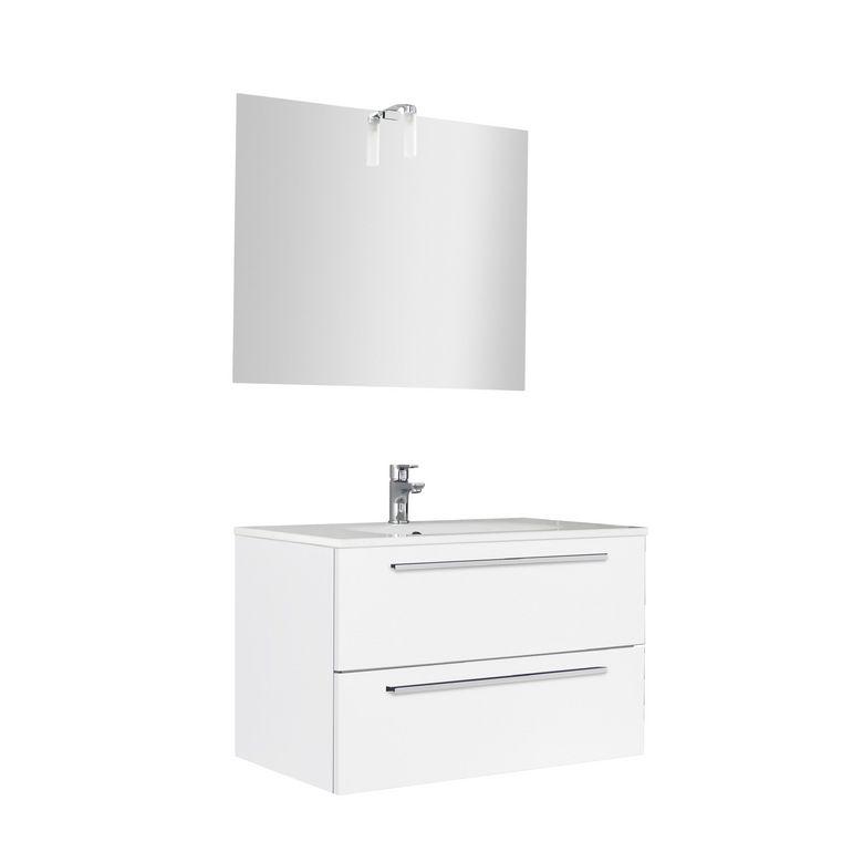 Ensemble meuble de salle de bains plan verre avec for Ensemble meuble salle de bain 80 cm
