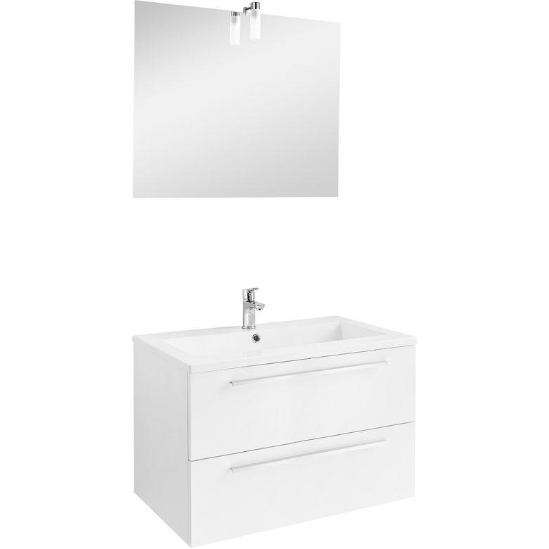 Ensemble meuble de salle de bains plan r sine avec - Ensemble robinetterie salle de bain ...