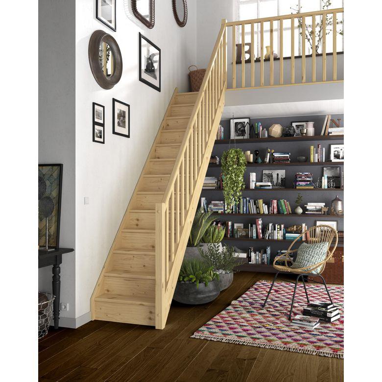 Escalier droit bois pack standard escaliers for Petit escalier en bois