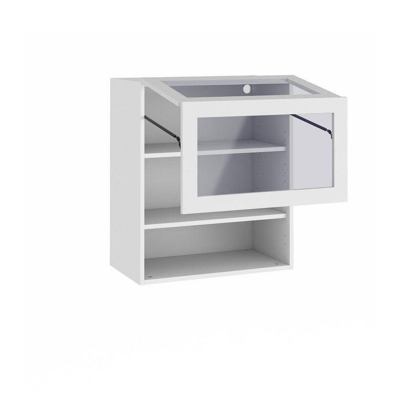 Meuble de cuisine haut avec porte pliante et 2 tablettes - Meuble haut gris cuisine avec porte vitree 2 abattants ...