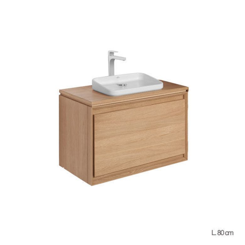 Meuble sous vasque avec plan bois rio salle de bains for Meuble vasque bois salle de bain