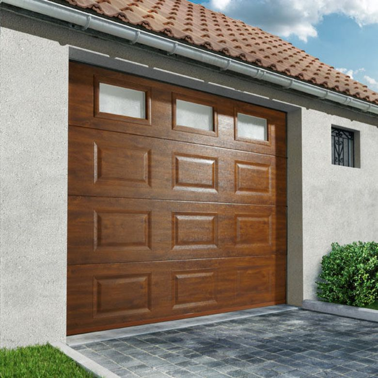 Porte de garage columbia sectionnelle pr mont e motoris e somfy ext rieur - Porte garage sectionnelle motorisee ...