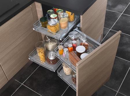 Les rangements gain de place des meubles de cuisine