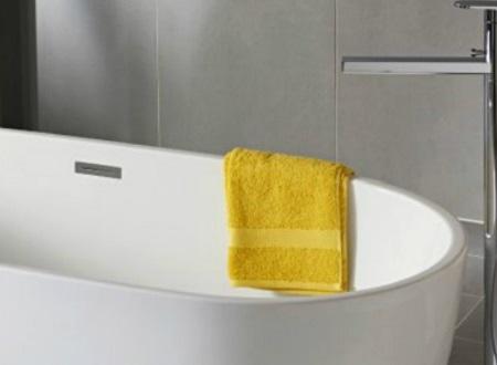 Baignoire en ilot et robinet rétro pour salle de bain vintage